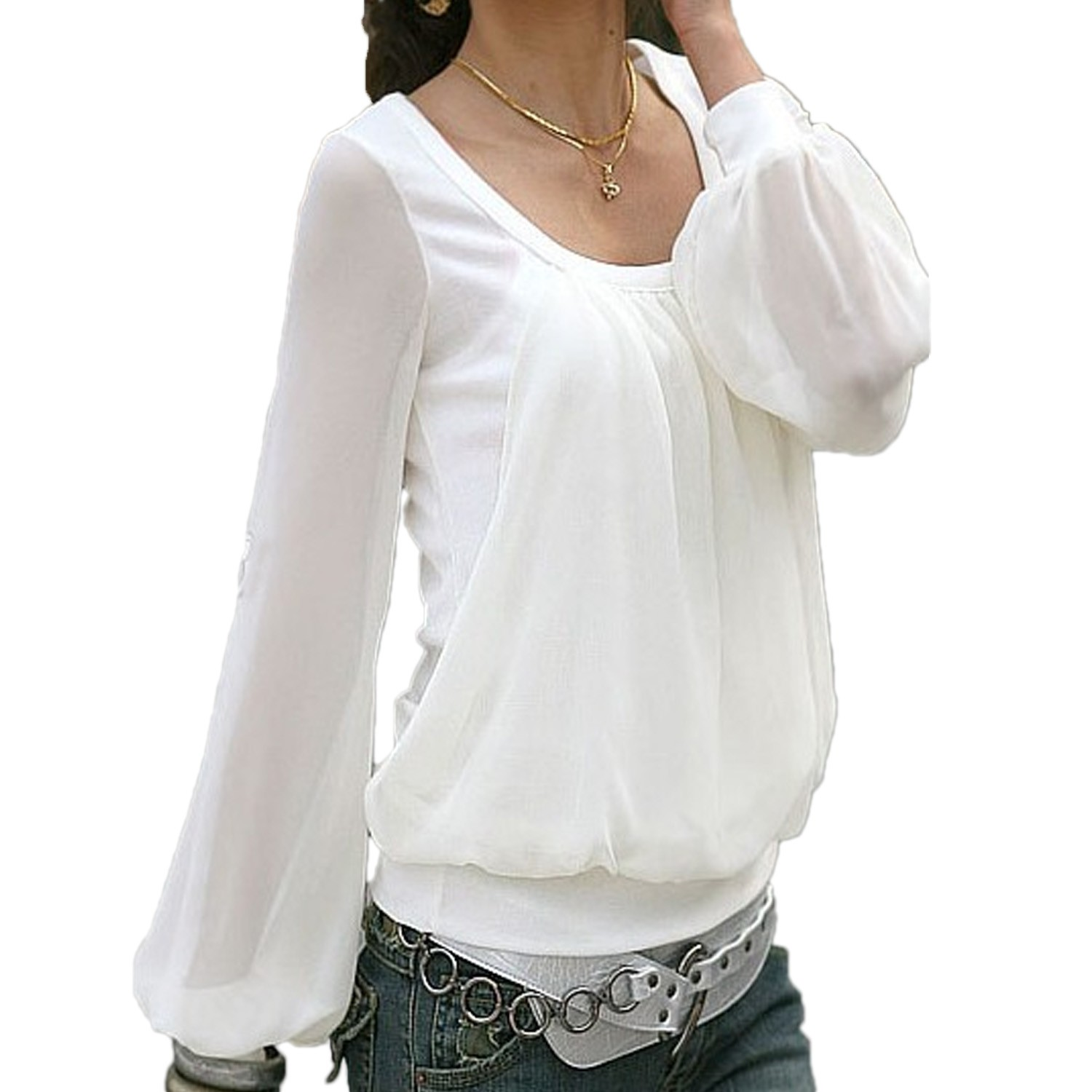 Cool  Long Sleeve Spliced Hollow Out Blouse For Women WHITES Long