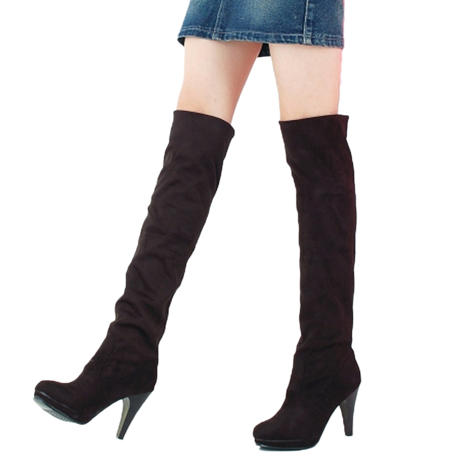 thigh length suede the knee high heels boots uk sz 1